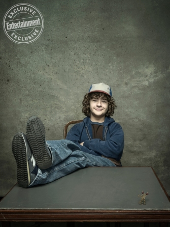 The Cast of Stranger Things, Gaten Matarazzo, photographed by Dan Winters for Entertainment Weekly on January 28th, 2017 in Los Angeles California. Styling: Jill Roth; Brown Hair: Blake Erik/Jed Root, Makeup: Gianpaolo Ceciliato/Jed Root, Groomer: Erika Parsons/Art Department; Groomer: Adrienne Herbert/Art Department; McLaughlin Grooming: Vonda K. Morris, Prop Styling: Charlotte Malmlof